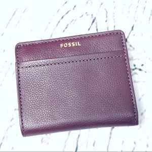 Fossil Leather Wallet Cardholder Burgundy Small